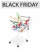 stock photo of eyeleteer  - Black Friday Shopping Cart Full with Carpenter Craft Tools Axe Eyelet Punch Rasp and Awl for Black Friday Shopping Season and Biggest Discount Promotion in A Year - JPG
