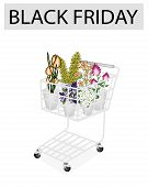 Flower And Orchid In Black Friday Shopping Cart