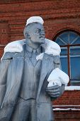 Neglected Monument Of Vladimir Lenin At Winter