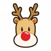 foto of rudolf  - vector illustration of Rudolf red nose reindeer face - JPG