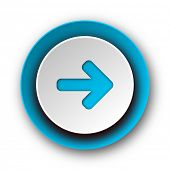 right arrow blue modern web icon on white background