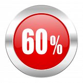 60 percent red circle chrome web icon isolated