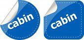 Cabin Word Stickers Set, Web Icon Button