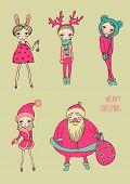 christmas funny girls  set vector