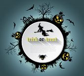 picture of vampire bat  - Abstract Halloween background with graveyard witch pumpkin bats and text place - JPG