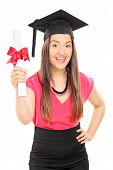 An overjoyed woman holding a diploma isolated on white background