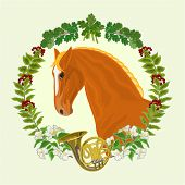 Sorrel Horse  Hunting Theme Vector