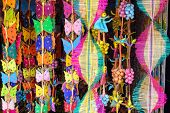 stock photo of handicrafts  - colorfull wooden handicrafts shop nearby konark temple in puri - JPG