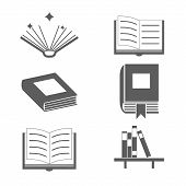 Reading Books Signs and Symbols Icons Template on Stylish Background Modern Flat Design Vector Illus