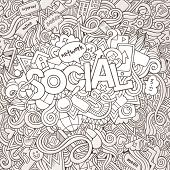 Social hand lettering and doodles elements background