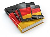 German learning. Mobile devices, smartphone, tablet pc and book . 3d