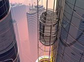 image of elevators  - Skyscraper with elevator on city background - JPG