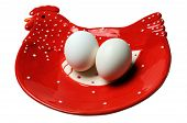 Two Eggs On A Plate Isolated On A White Background