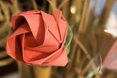 picture of one dozen roses  - Red origami rose made of paper with busy background - JPG