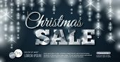 Glowing Christmas Sale Banner. Vector Illustration.