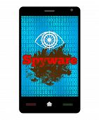 picture of spyware  - Spyware concept image with dirty messy blot with spyware text on a smartphone - JPG