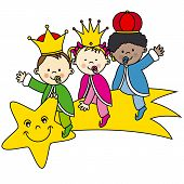 stock photo of melchior  - kings sitting on a shooting star - JPG