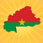 Burkina Faso map flag on sunburst illustration