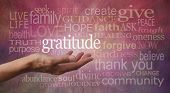 picture of give thanks  - Female hand outstretched with palm up and the word  - JPG