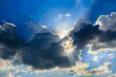 Blue Sky With The Sun Rays
