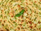 Focaccia with grapes and sauce Pesto close-up