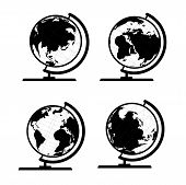 Vector set of 3D world map or globe, series 3 globe with stand