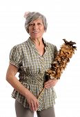Smiling Adult Woman Holding Feather Duster