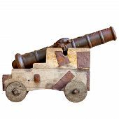 stock photo of artillery  - Medieval cannon isolated on white background - JPG