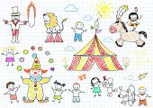 Happy children in circus. Sketch on notebook page