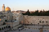 A view of the Temple Mount in Jerusalem, including the Western Wall and the golden Dome of the Rock.