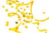 golden confetti serpentine isolated on white