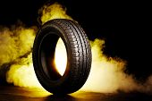 photo of black smoked burning tire