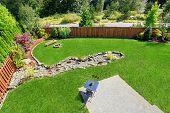Panoramic View Of Backyard Landscape.