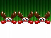 Christmas Cartoon Reindeers Over Green Background Holding Blank