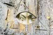 Eyes carved into a mountainside