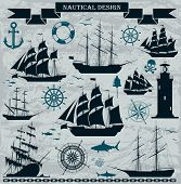 image of sailing-ship  - Set of sailing ships with nautical design elements - JPG