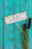 stock photo of cattail  - Rustic welcome sign hanging on antique green wood background with cattails border - JPG
