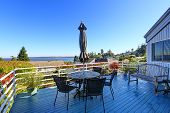 Walkout Deck With Patio Area Overlooking Scenic Bay View In Federal Way, Wa