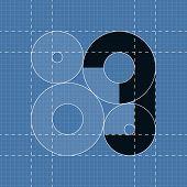 Round engineering font. Symbol 3