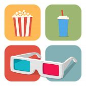 The cinematic illustration. Movie showing with Popcorn, drinks and 3D Stereo Glasses