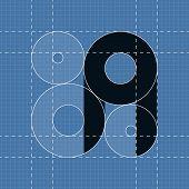 Round engineering font. Symbol A