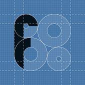 Round engineering font. Symbol F