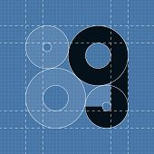 Round engineering font. Symbol G