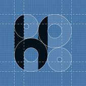 Round engineering font. Symbol H