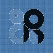 Round engineering font. Symbol R