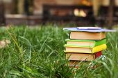 Stacked books in grass, outside