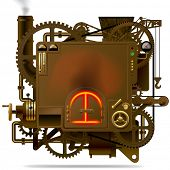 Complex fantastic machine with stove, gears, levers, pipes and other machinery. Symbol of industry, energy and power