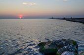 sunset sky at a pier