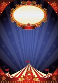 Circus night background. A circus poster with a large empty placard on a night sky for your entertai