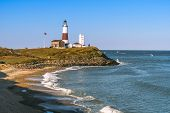 picture of long beach  - Montauk Point Lighthouse and beach from the cliffs of Camp Hero - JPG